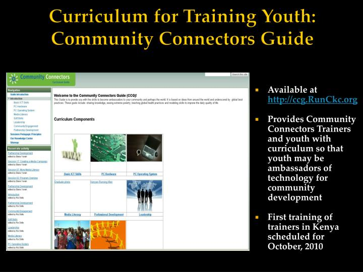 Curriculum for Training Youth: