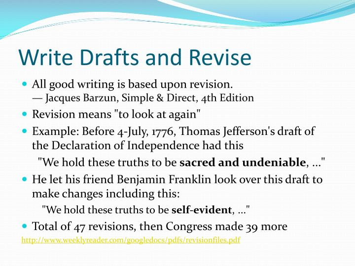 Write drafts and revise