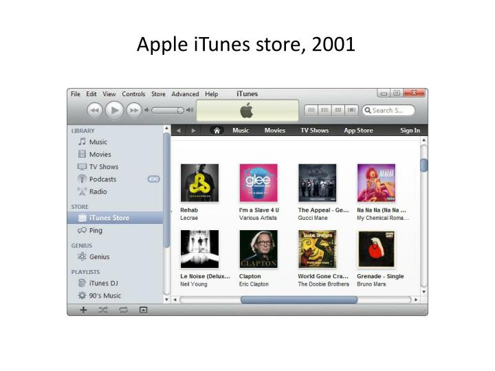 Apple iTunes store, 2001