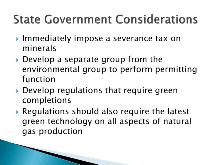 State Government Considerations