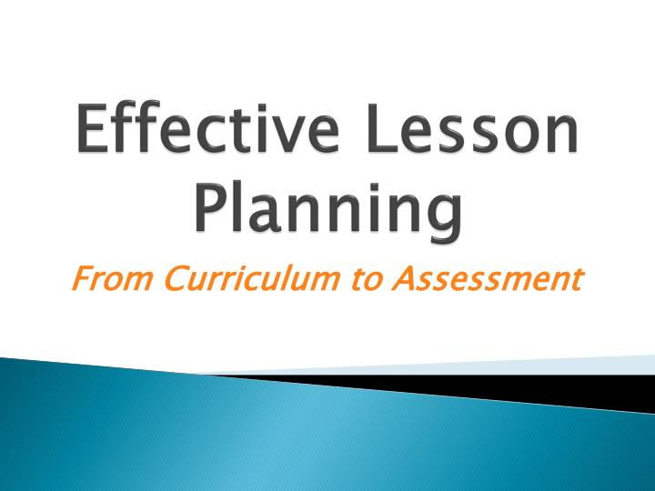 effective lesson planning n.