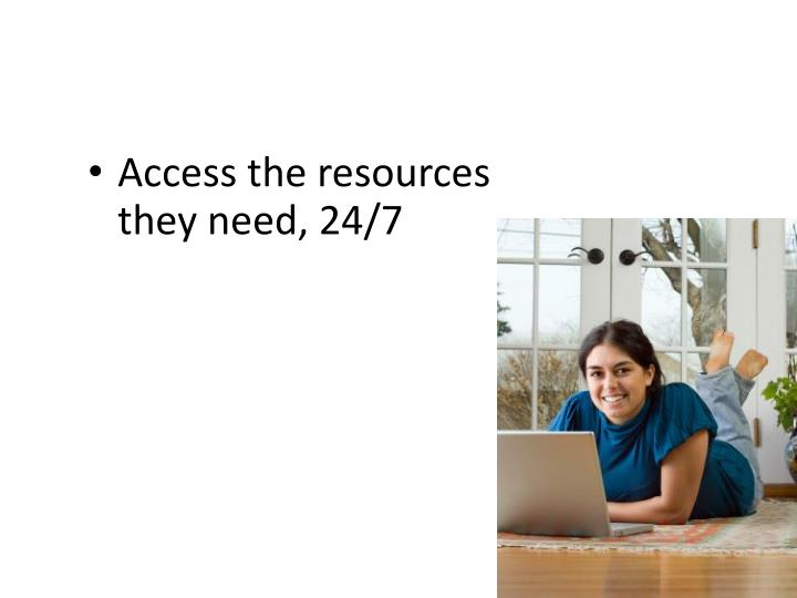 Access the resources they need, 24/7
