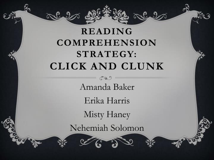 reading comprehension strategy click and clunk n.
