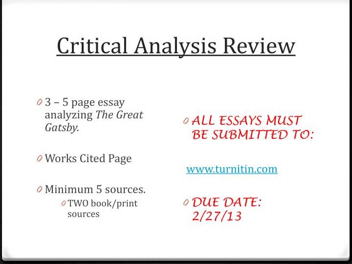 Critical analysis review