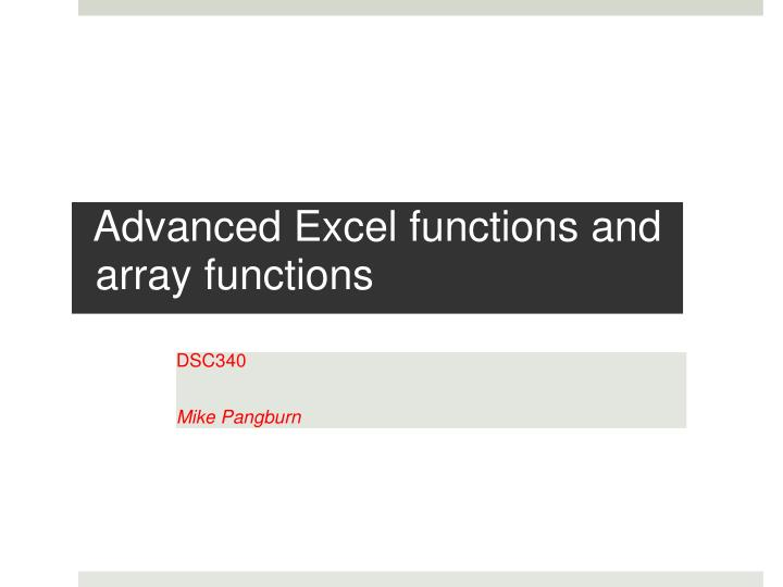 advanced excel functions and array functions n.