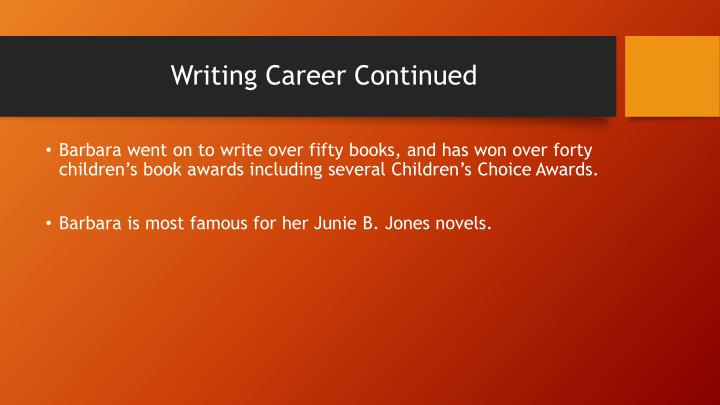 Writing Career Continued