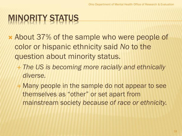 About 37% of the sample who were people of color or