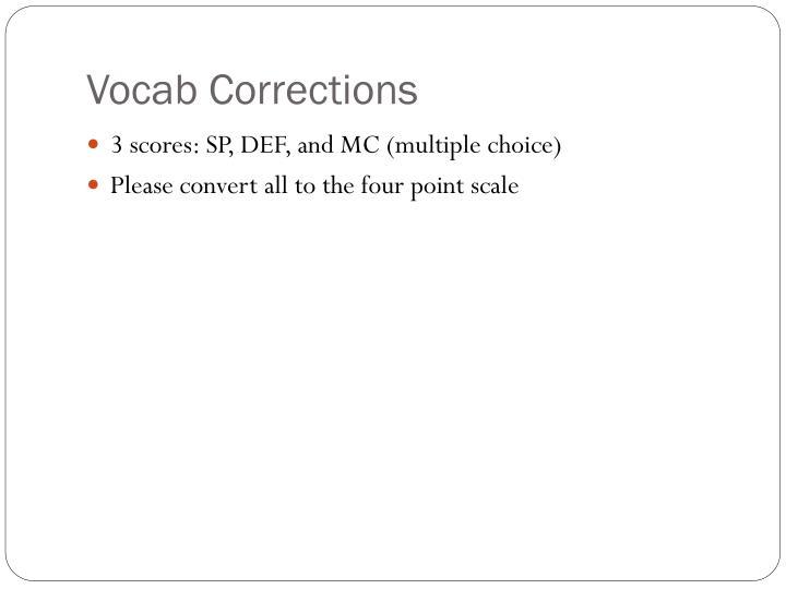 Vocab Corrections