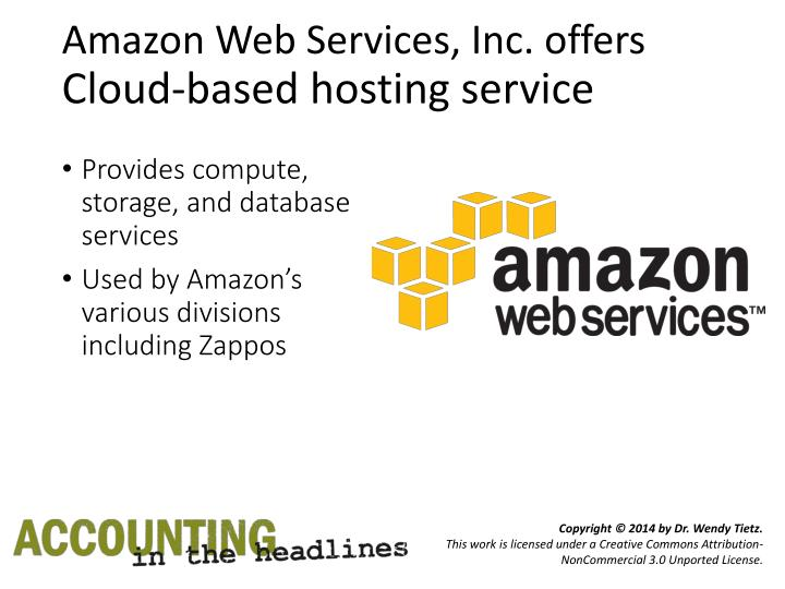 Amazon web services inc offers cloud based hosting service