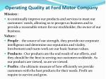 operating quality at ford motor company