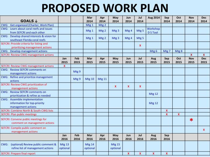 proposed Work Plan
