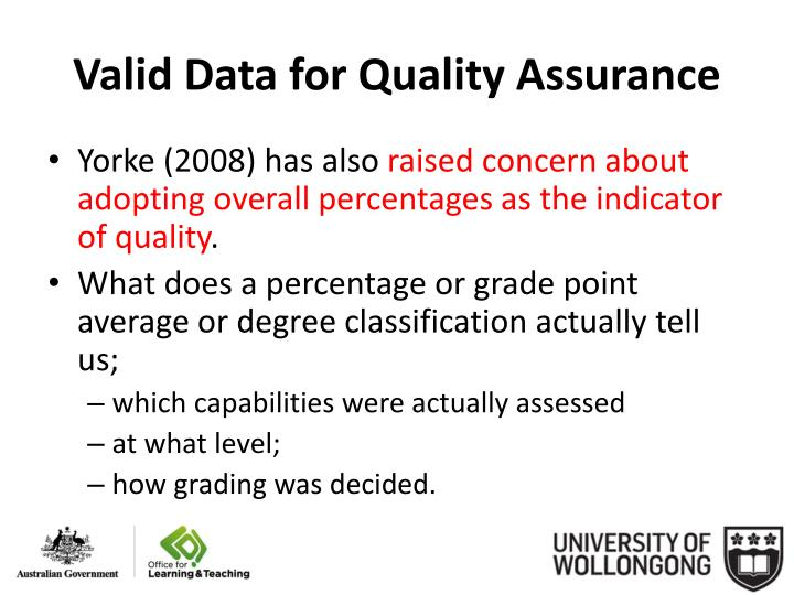Valid Data for Quality Assurance