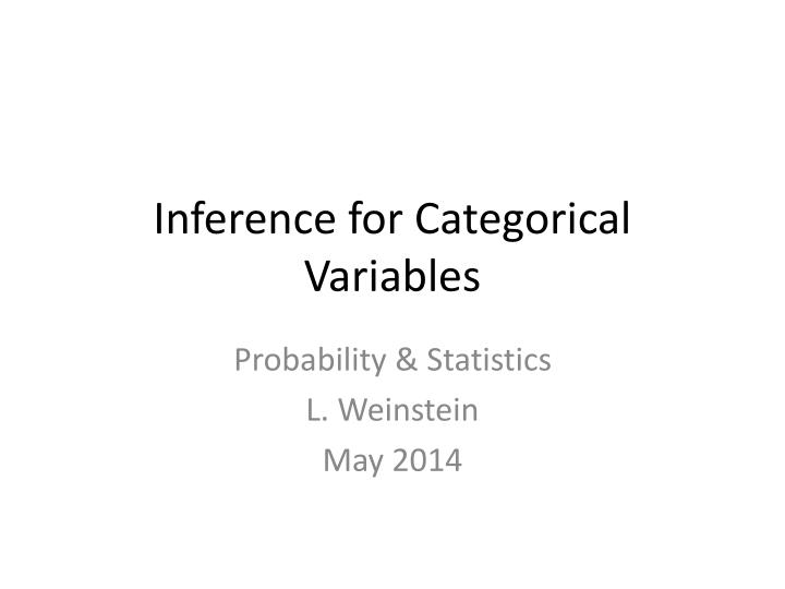 inference for categorical variables n.