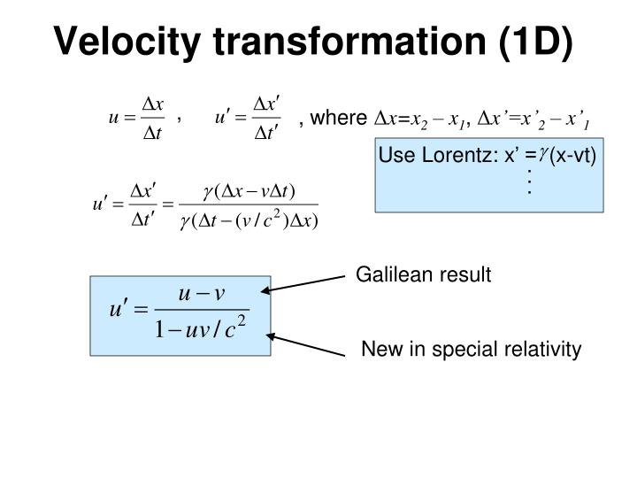 Velocity transformation (1D)