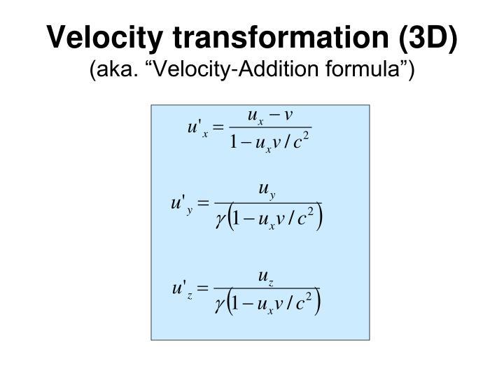 Velocity transformation (3D)