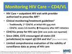 monitoring hiv care cd4 vl