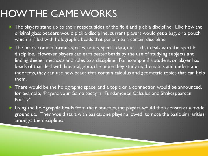 How the game works