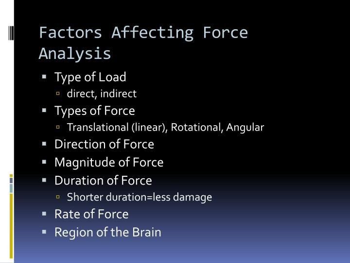 Factors Affecting Force Analysis