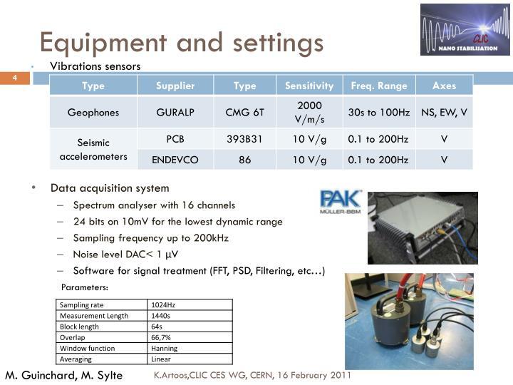 Equipment and settings