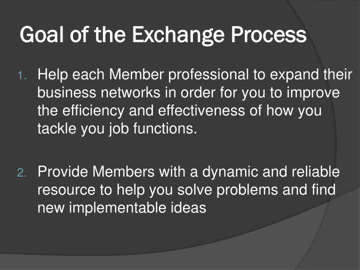 Goal of the exchange process