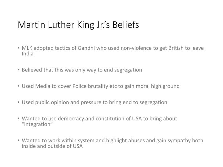 "the methods and beliefs of martin luther king jr The assassination of martin luther king, jr ""white people hate black  king's nonviolent methods were quite effective as the  examine beliefs martin luther king."
