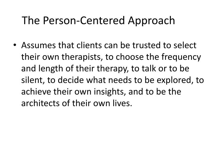 essays on person centred therapy Further reading on person-centred counselling our annotated bibliography includes pointers to additional reading on this and other therapeutic approaches mearns and thorne (1999) provide a very readable account of person-centred counselling, while rogers (1961) is a much more in-depth collection of papers.