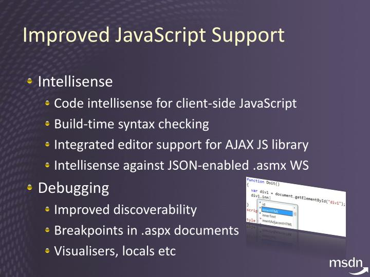 Improved JavaScript Support