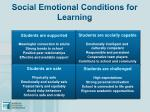 social emotional conditions for learning