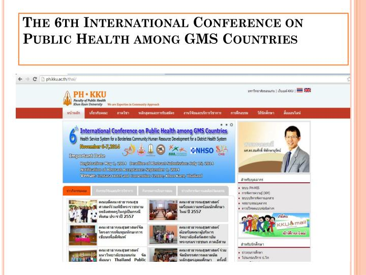 The 6th international conference on public health among gms countries