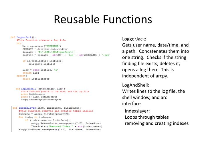 Reusable Functions
