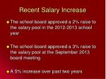 recent salary increase