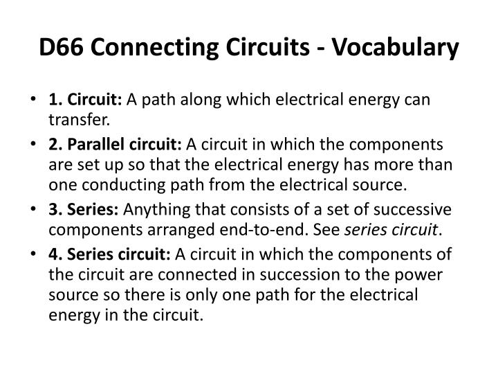 D66 Connecting Circuits - Vocabulary