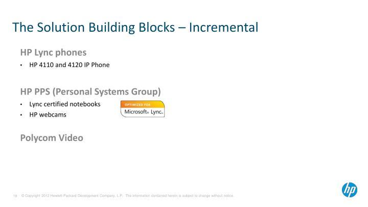 The Solution Building Blocks – Incremental