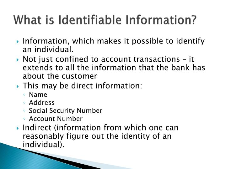 What is Identifiable Information?