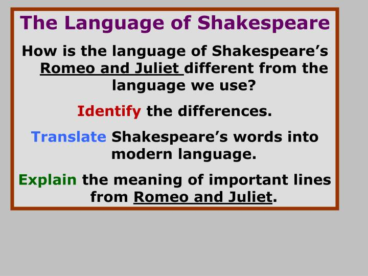The Language of Shakespeare
