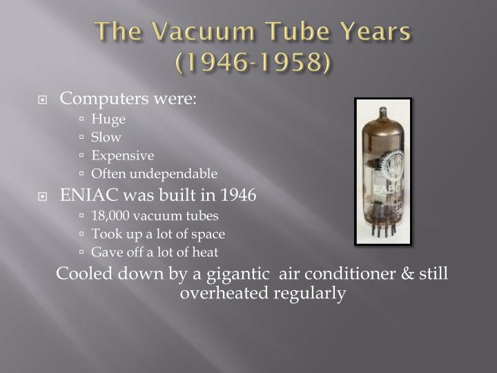 The vacuum tube years 1946 1958