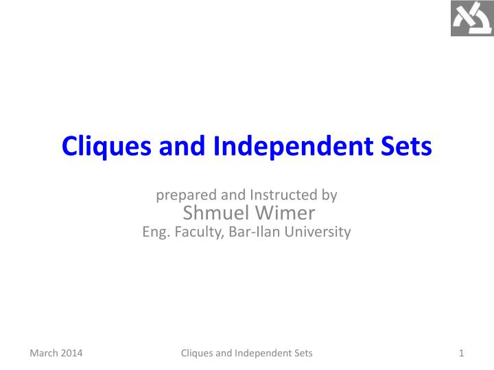 cliques and independent sets