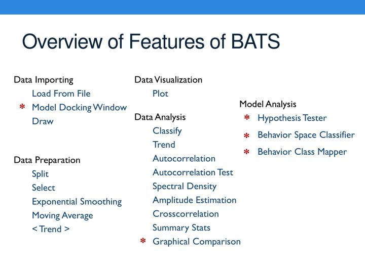 Overview of Features of BATS