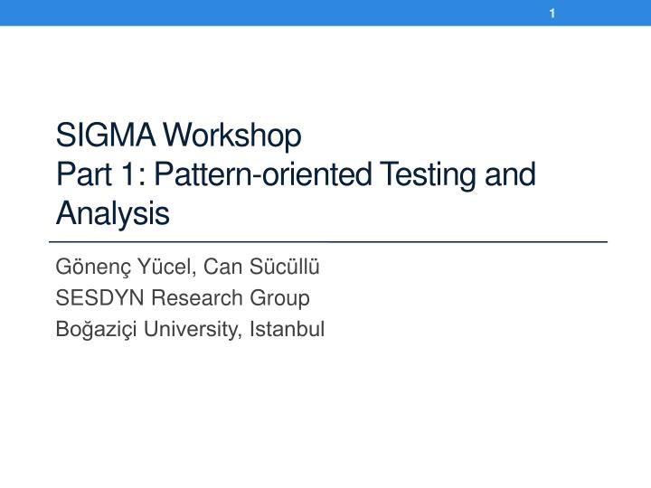 Sigma workshop part 1 pattern oriented testing and analysis