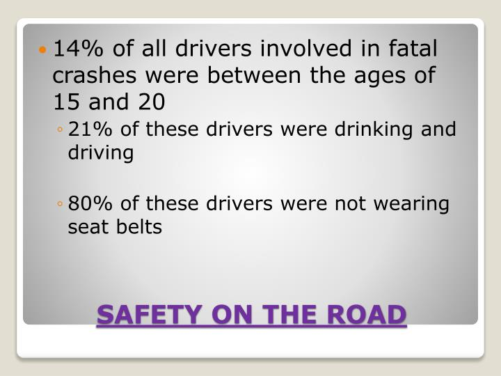 14% of all drivers involved in fatal crashes were between the ages of 15 and 20