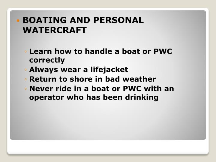 BOATING AND PERSONAL WATERCRAFT