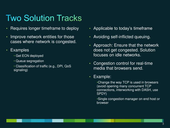 Two solution tracks
