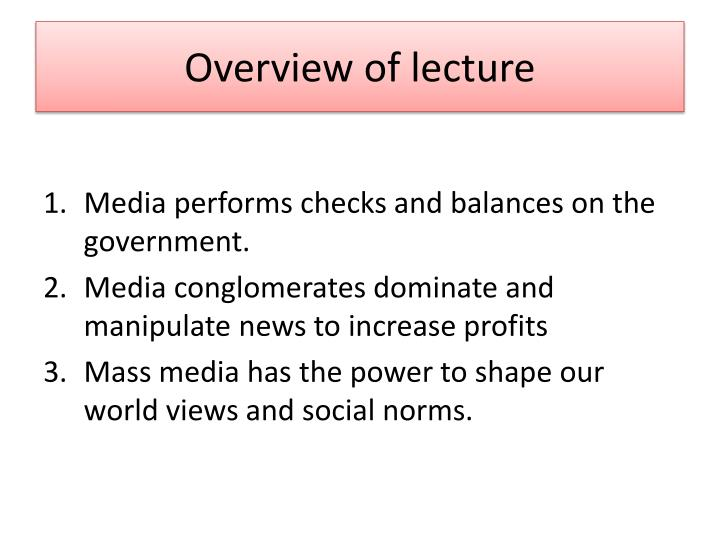 overview of lecture n.
