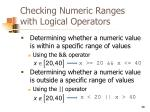 checking numeric ranges with logical operators