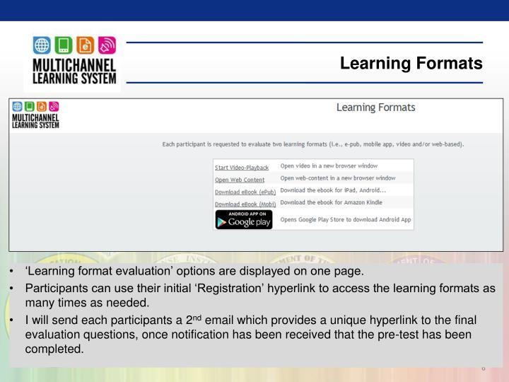Learning Formats