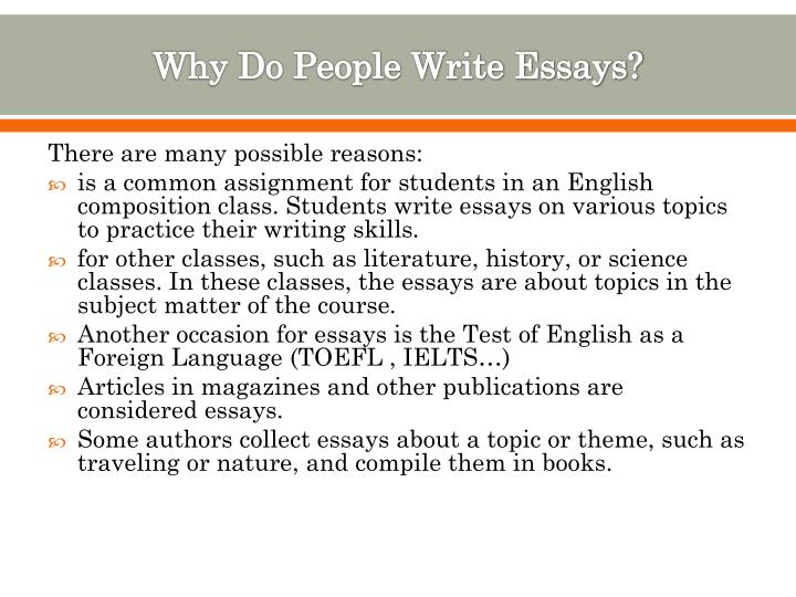 Ppt  Paragraphs In An Essay Powerpoint Presentation  Id Why Do People Write Essays