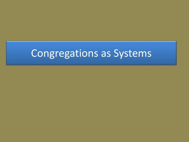 Congregations as systems