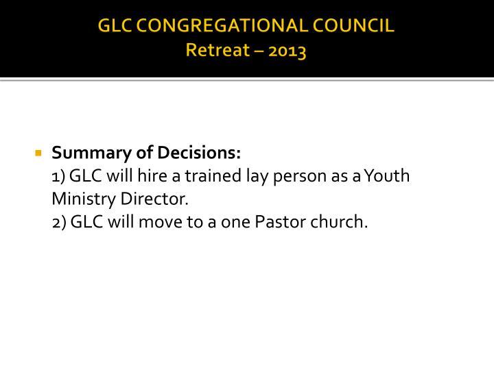 GLC CONGREGATIONAL COUNCIL