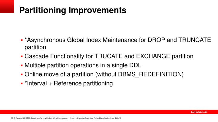 Partitioning Improvements