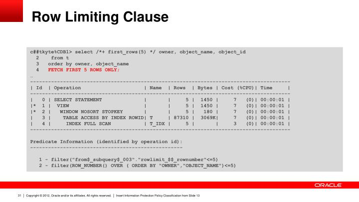 Row Limiting Clause